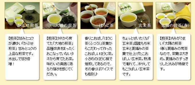 「ありがとう」を形にした贈り物メッセージ付き五種類のお茶